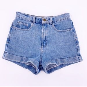 American Apparel Blue High Waist Jean Shorts Sz 28